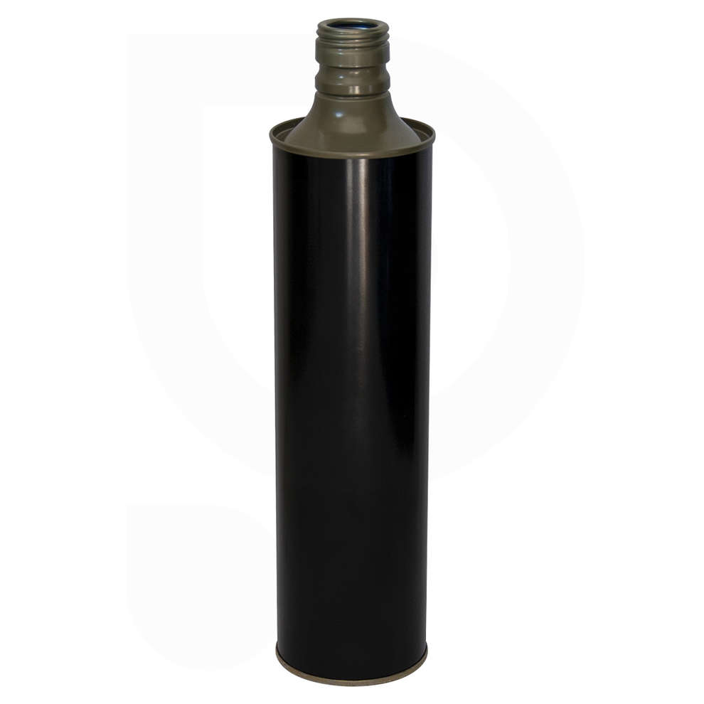 0.75 L glossy black olive oil cylindrical tin can (35 pcs)