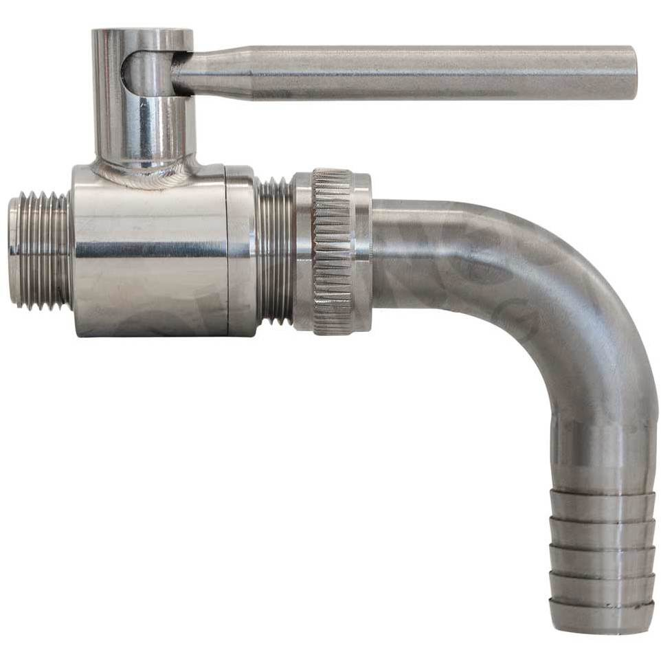 "1/2"" x 3/4"" stainless steel ball valve M/M with Curved hose barb"