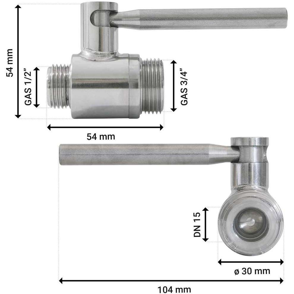 "1/2"" x 3/4"" stainless steel ball valve M/M"