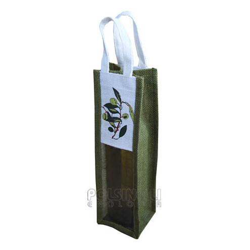 1 bottle carry wine bag in jute with olive design (5 pieces)