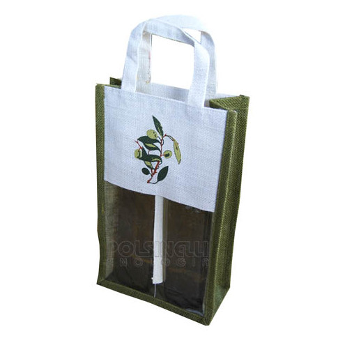 2 bottle carry wine bag in jute with olive design (5 pieces)