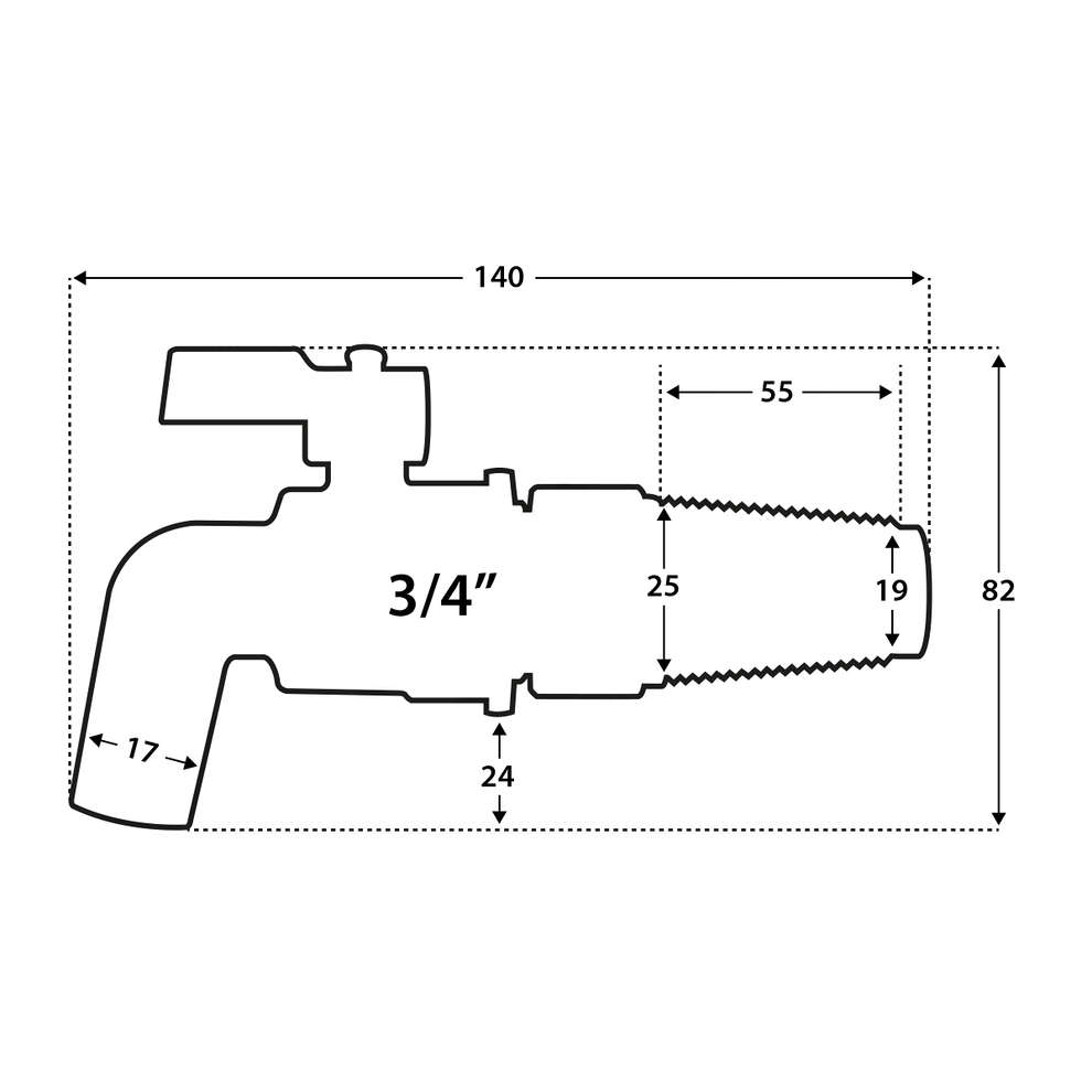 """3/4"""" stainless steel spigot with Steel cone barrel bore"""
