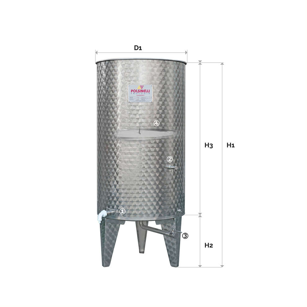 300 L Stainless steel cone bottom tank with air floating lid