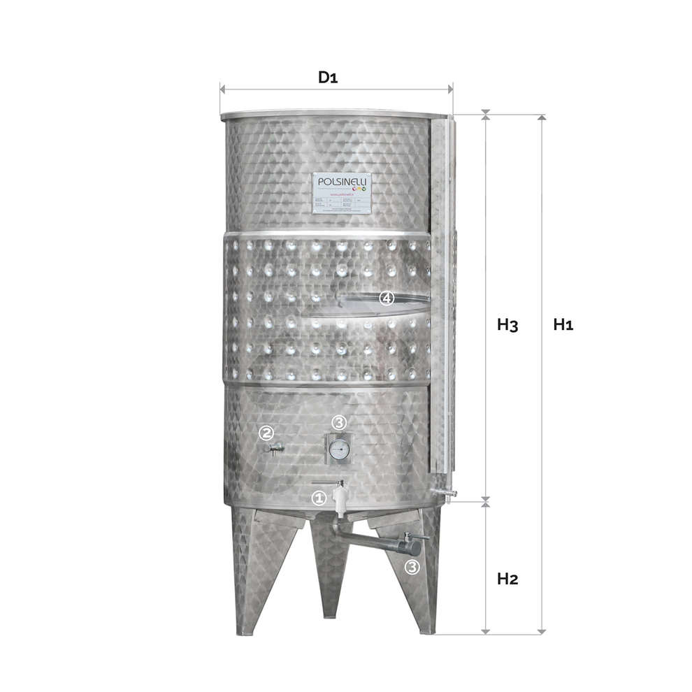 500 L Refrigerated Stainless steel tank with conical bottom with air floating lid