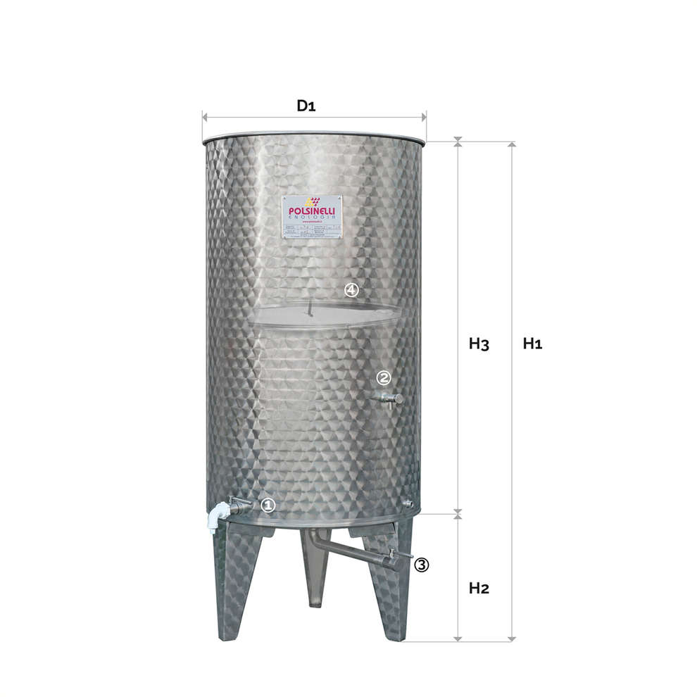 500 L Stainless steel cone bottom tank with air floating lid