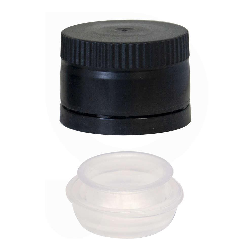 Black multidosing plastic screw cap with drip catcher ⌀31.5 (100 pcs)