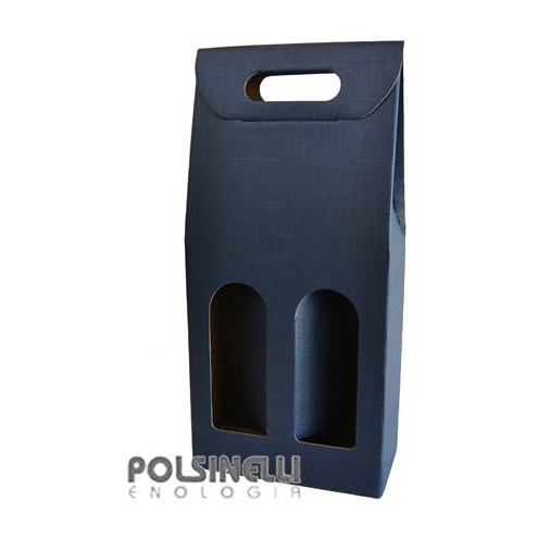 Blue carry wine box for 2 bottles (10 pieces)