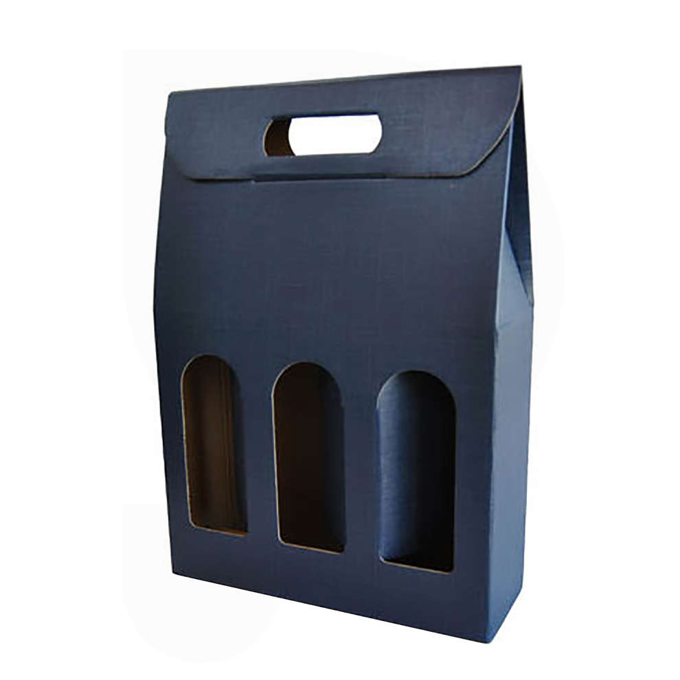 Blue carry wine box for 3 bottles (10 pieces)