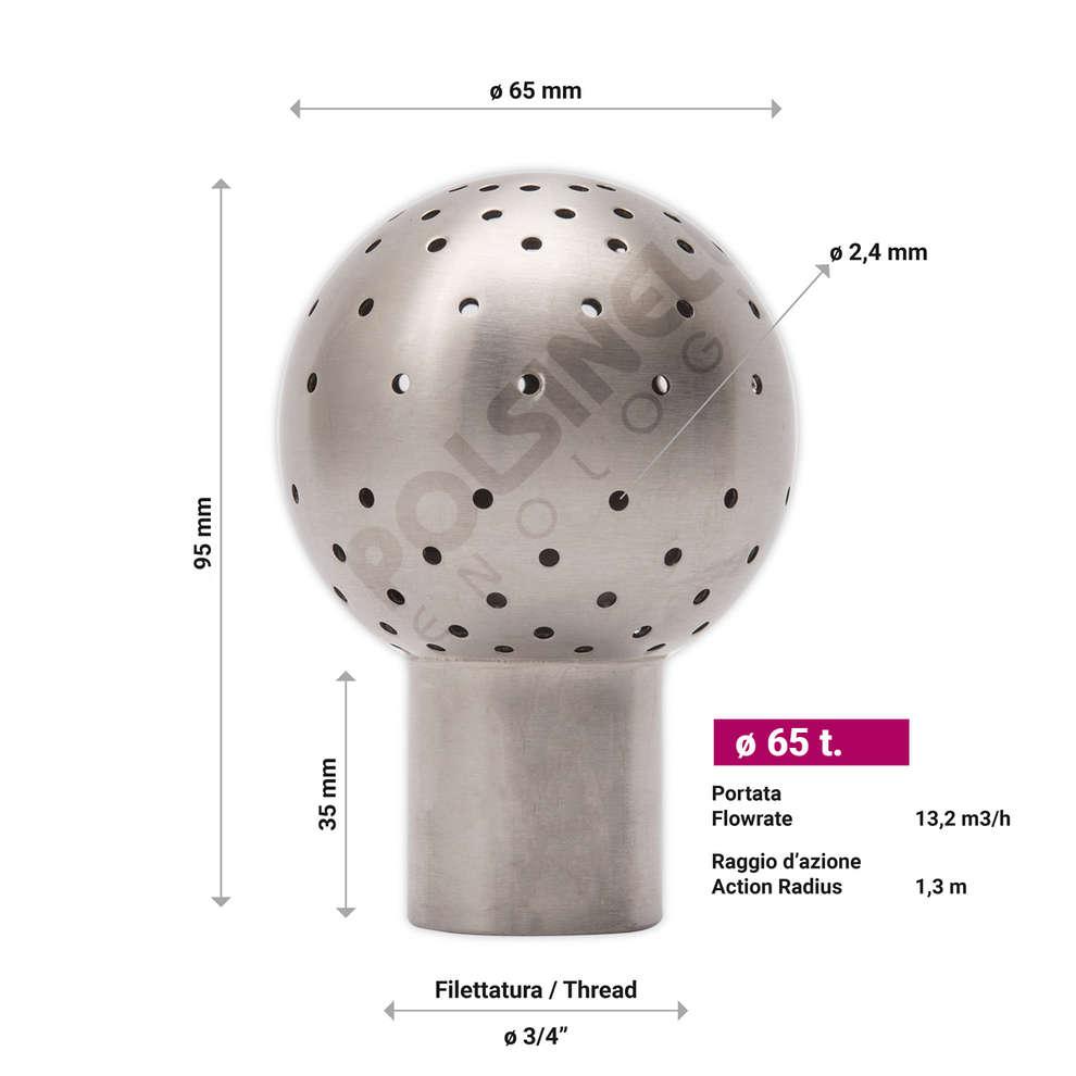 Bola de limpieza inox (ø 65 t.)