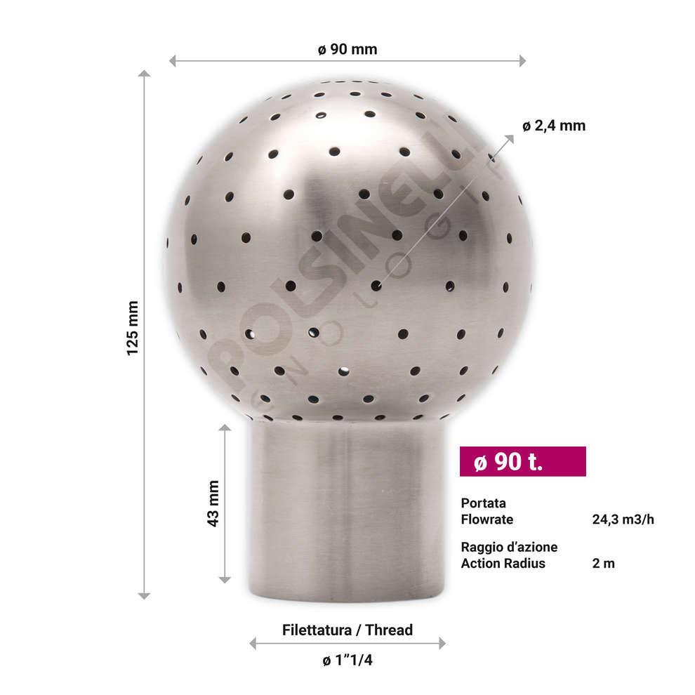 Bola de limpieza inox (ø 90 t.)