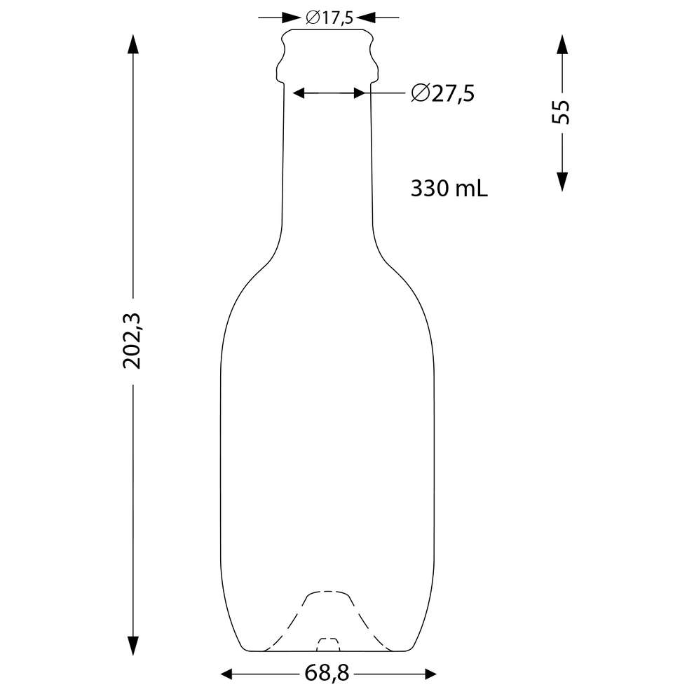 Botella para cerveza de 33 cL Malt (19 PC)