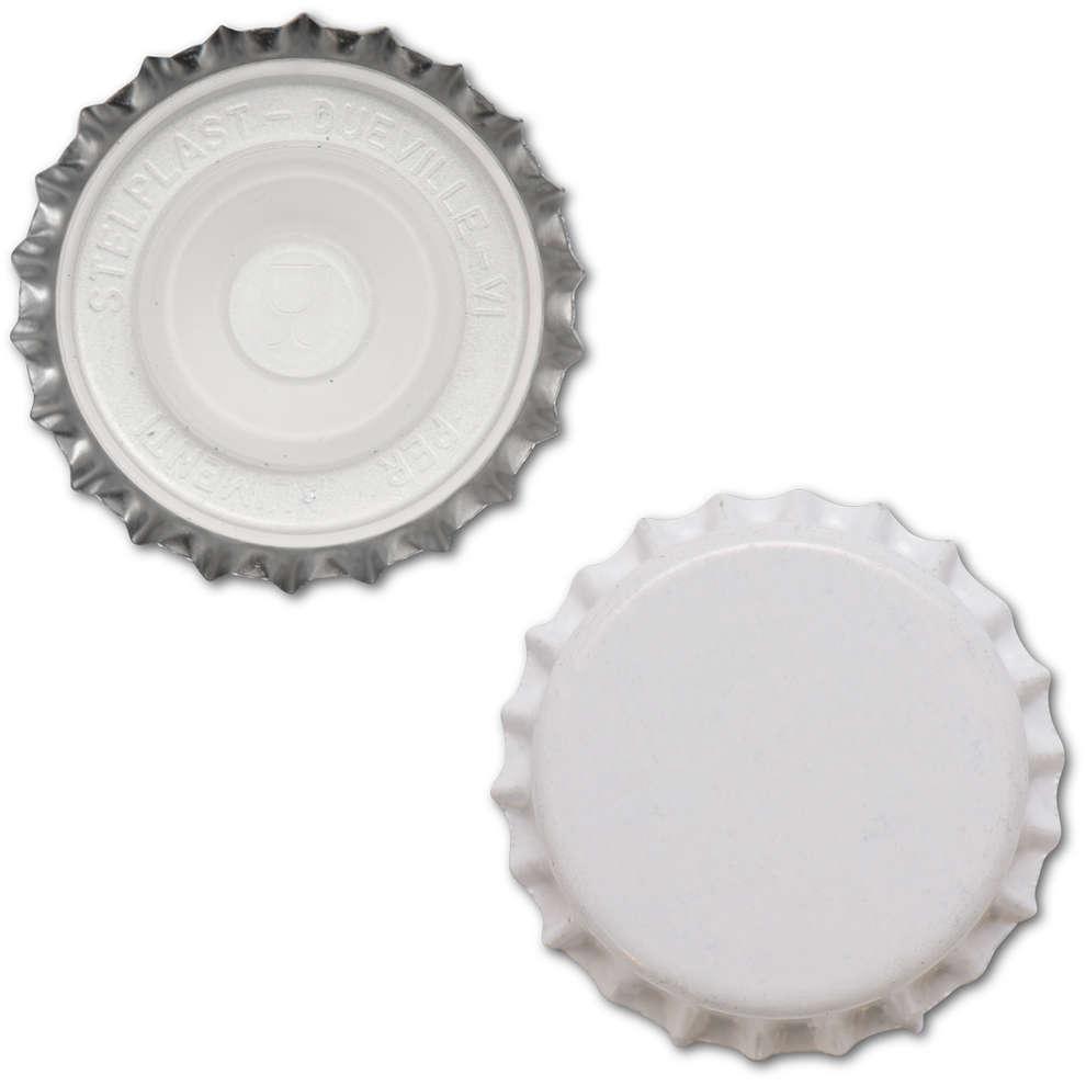 Bouchon couronne avec capuchon intérieur ⌀29 blanc (200 pcs)
