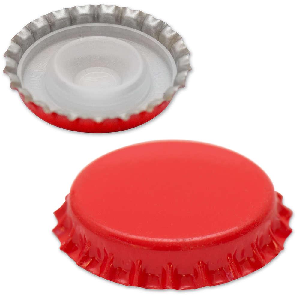 Bouchon couronne avec capuchon intérieur ⌀29 rouge (200 pcs)