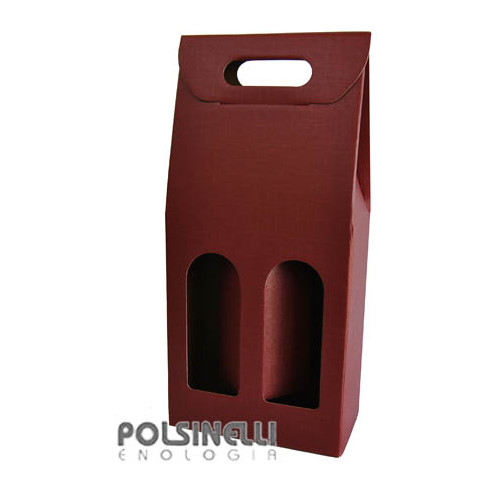 Burgundy carry wine box for 2 bottles (10 pieces)