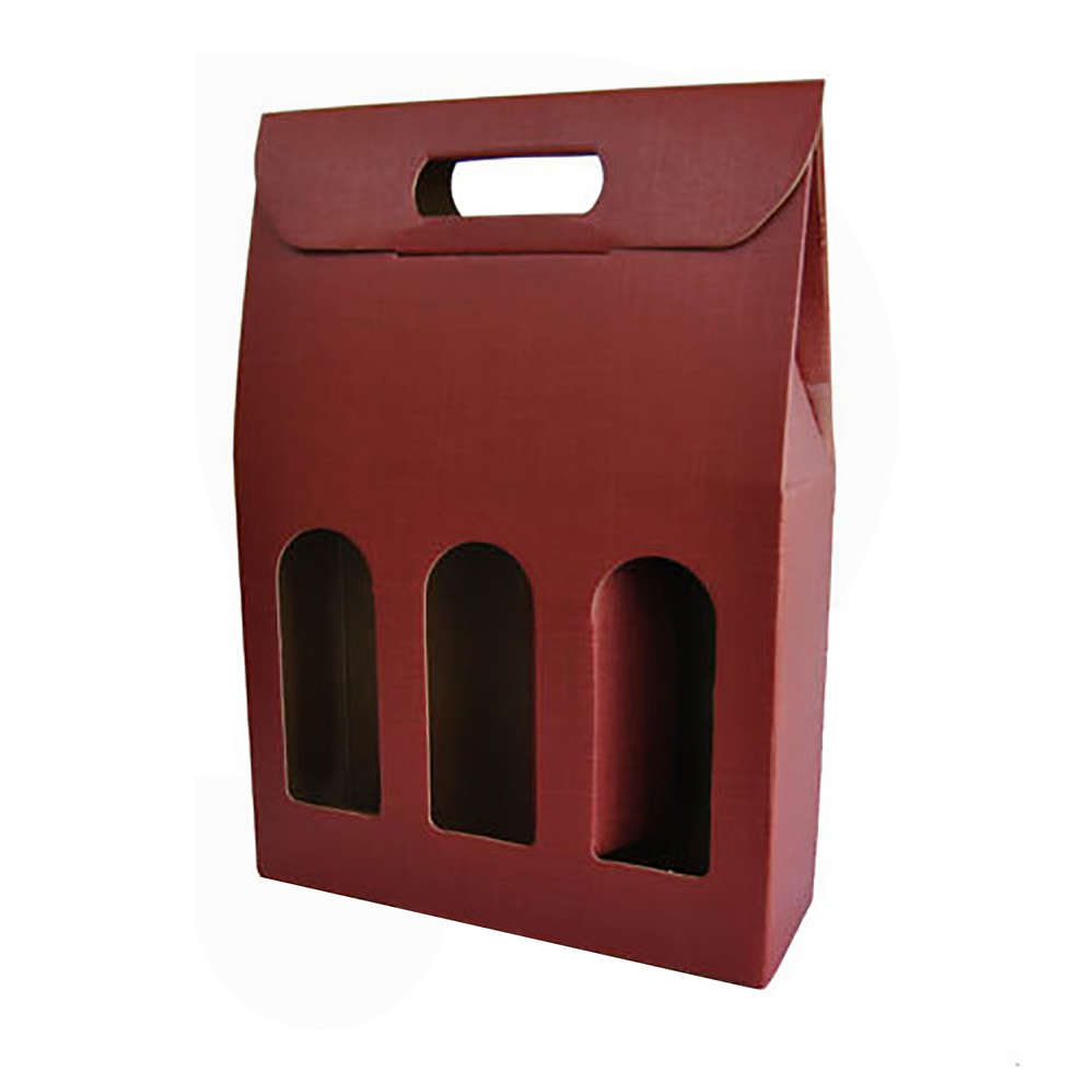 Burgundy carry wine box for 3 bottles (10 pieces)
