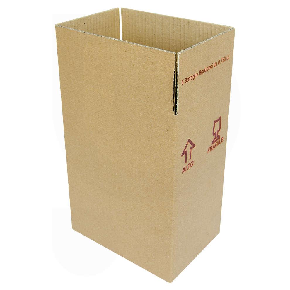 Carton pour 6 bouteilles bordelaises 750 mL (10 pcs)
