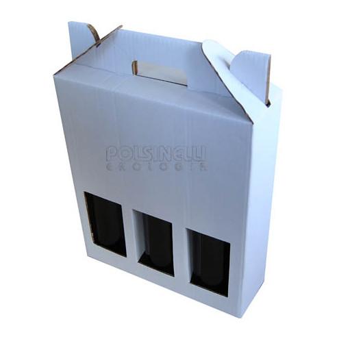 Coffret blanc pour 3 bouteilles 750 mL (10 pcs)