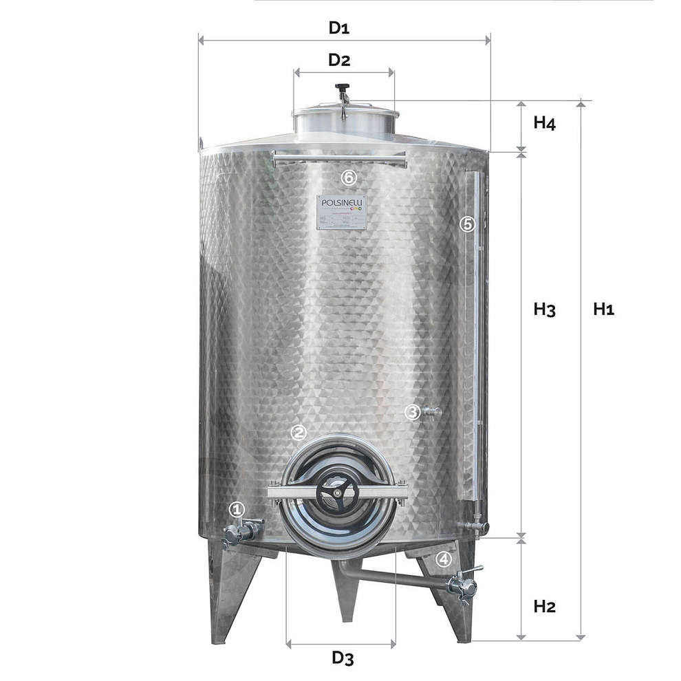 Conical bottom  storage tank 1500 L with manhole