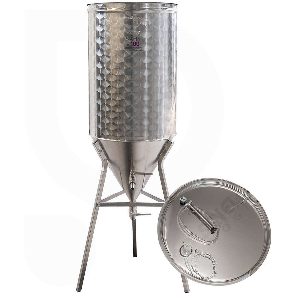 Conical trunk for wine 60° 100 L with air floating lid