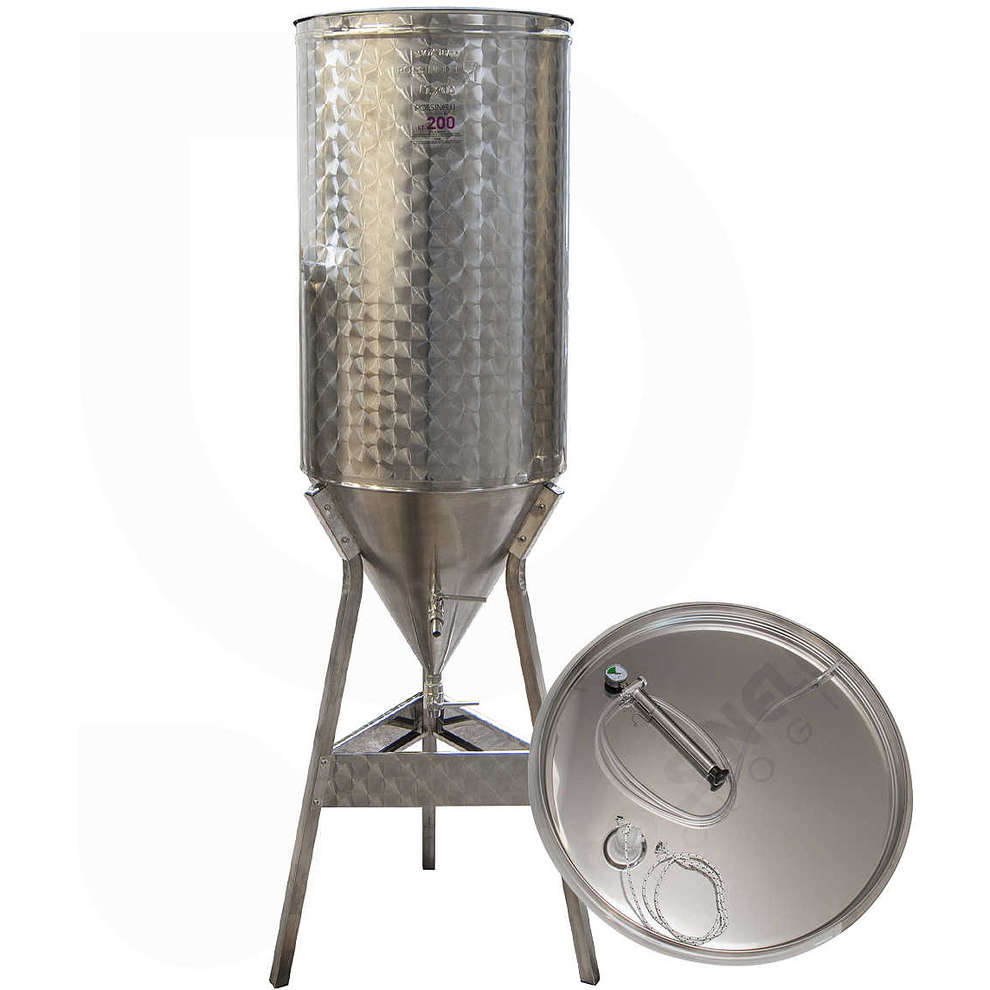 Conical trunk for wine 60° 200 L with air floating lid