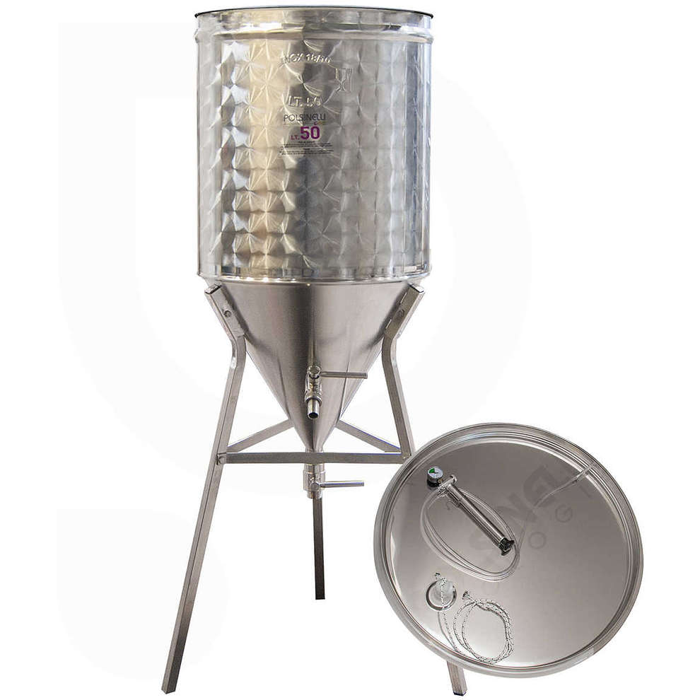 Conical trunk for wine 60° 50 L with air floating lid