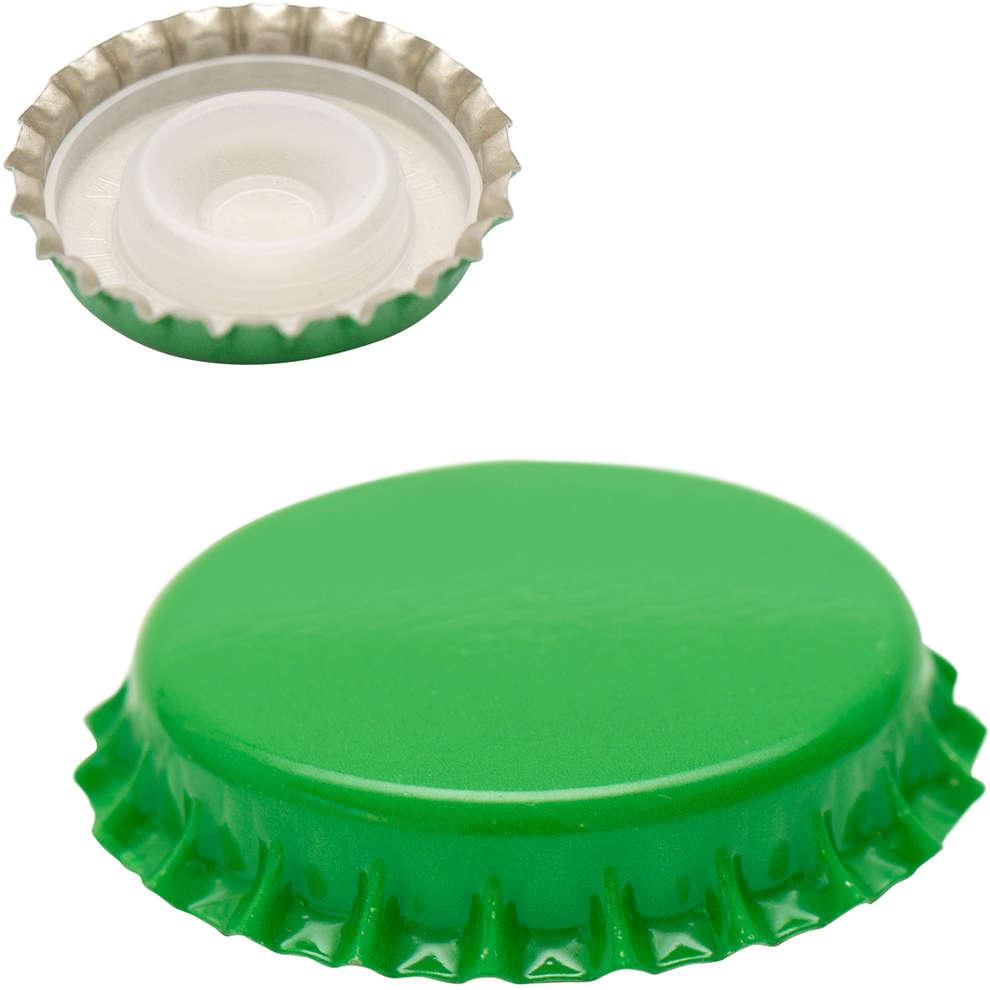 Crown cap with inner cap green⌀29 (200 pcs)