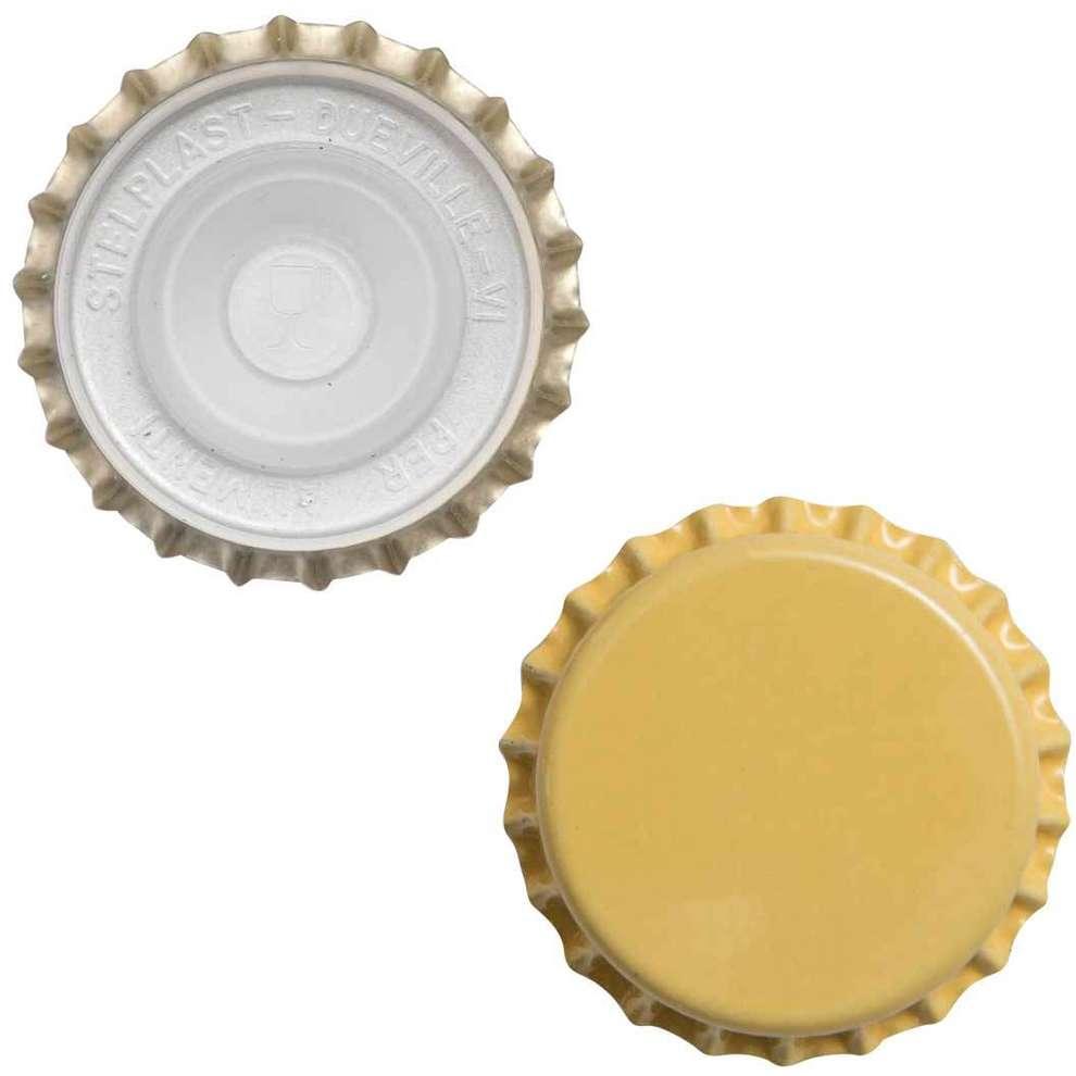Crown cap with inner cap yellow ⌀29 (200 pcs)