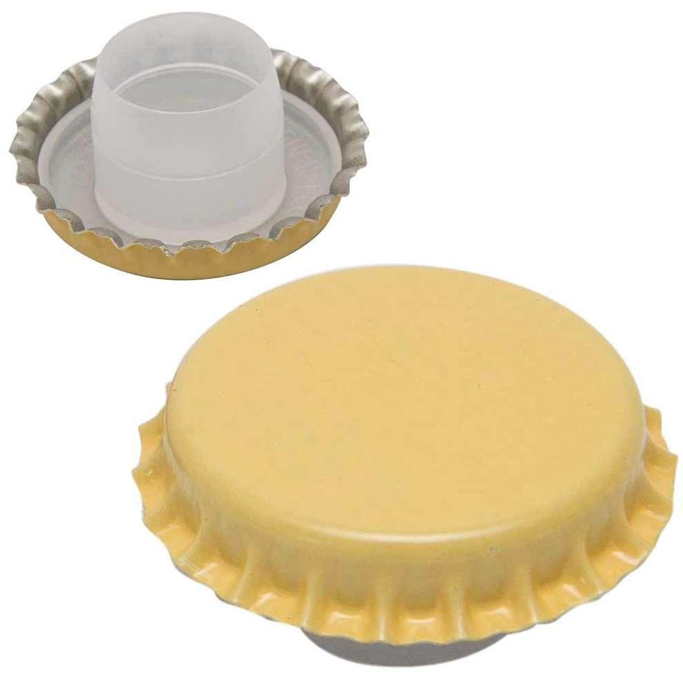 Crown cap yellow with bidule ⌀29 (200 pcs)