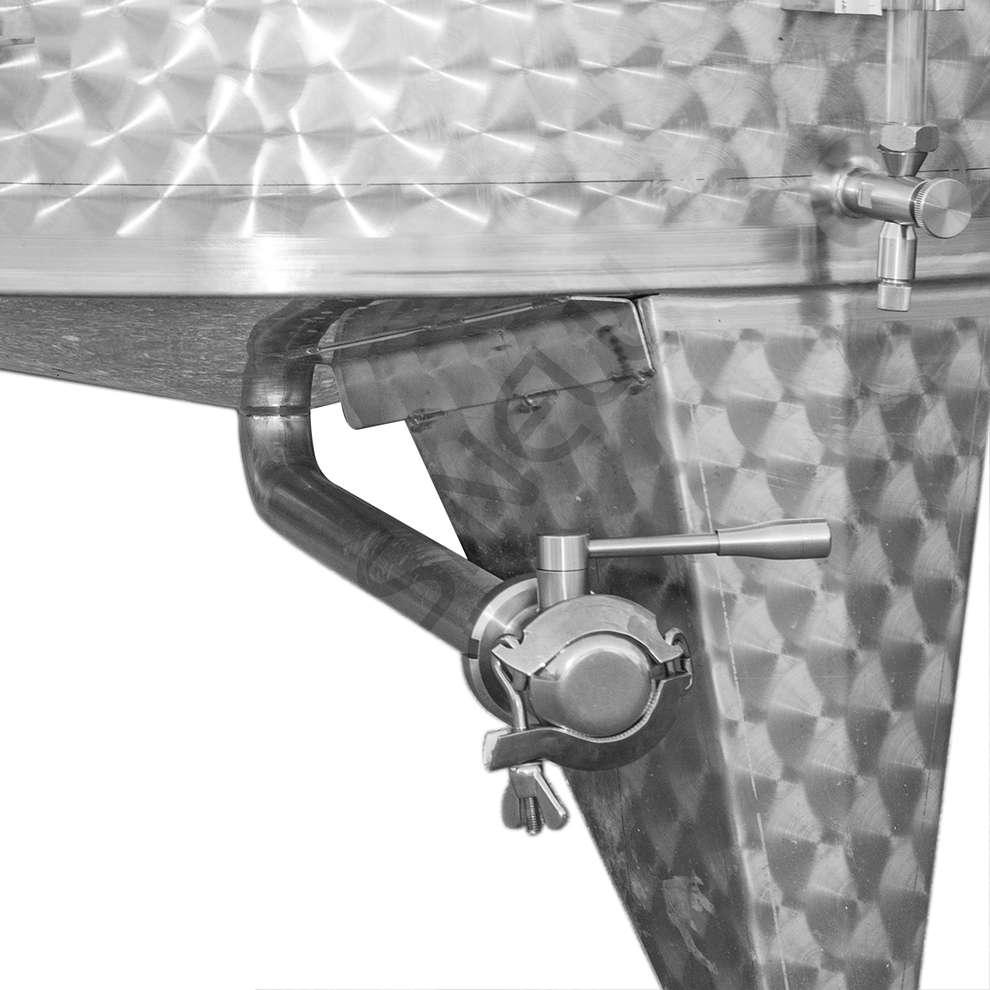 Cuve de stockage inox réfrigérée à fond conique avec trappe de vidange 1500 L