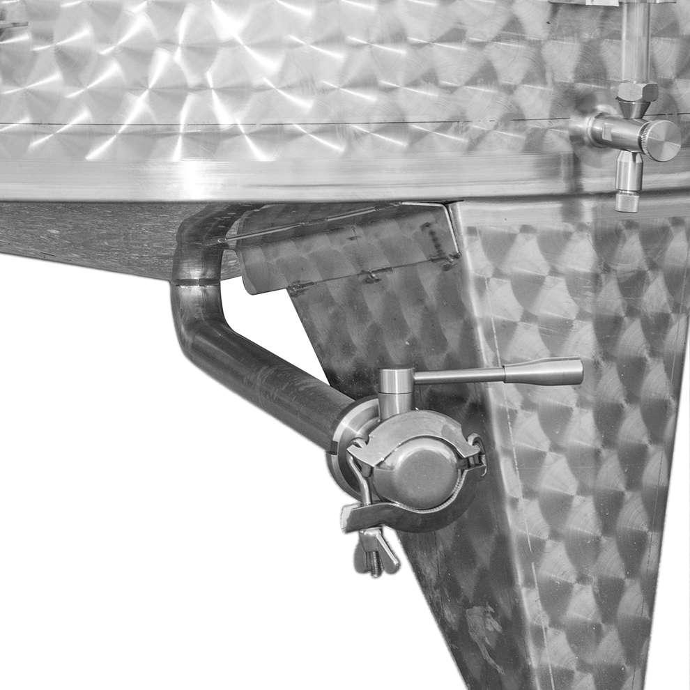 Cuve de stockage inox réfrigérée à fond conique avec trappe de vidange 3600 Lt.