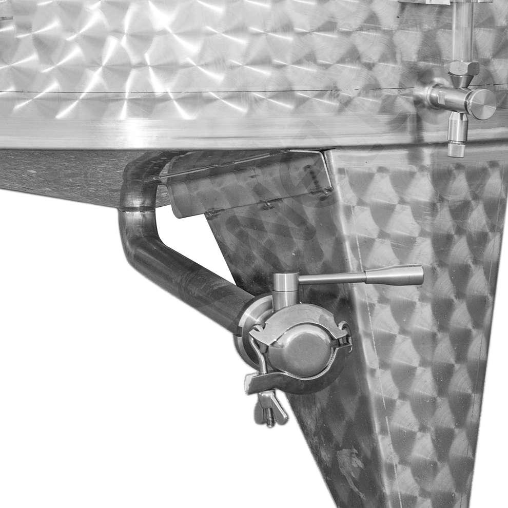 Cuve inox à fond conique 2500 Lt. avec chapeau flottant à air avec trappe de vidange