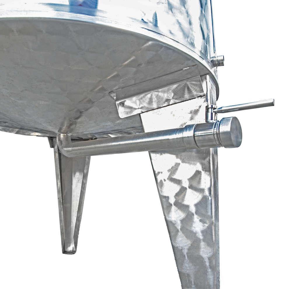 Cuve inox à fond conique 500 Lt. avec chapeau flottant à air avec trappe de vidange