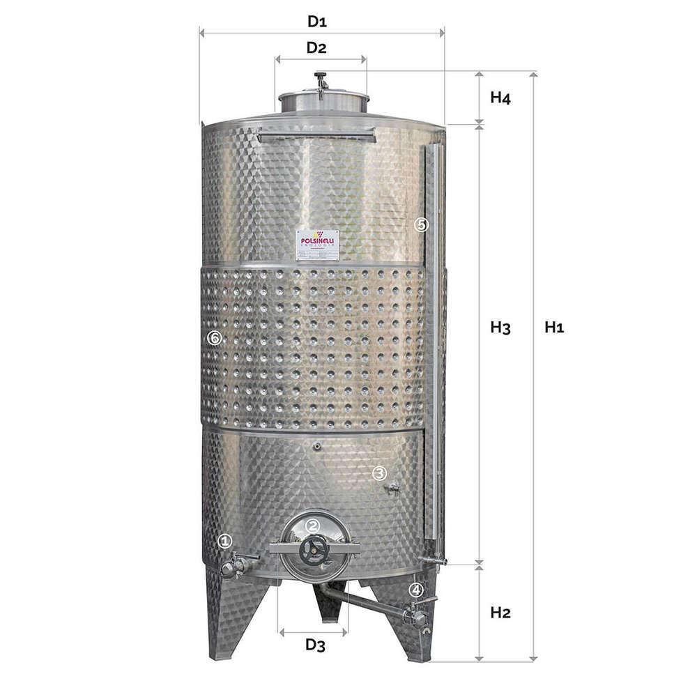 Depósito de almacenaje refrigerado 2000 L de fondo cónico a aire con puerta