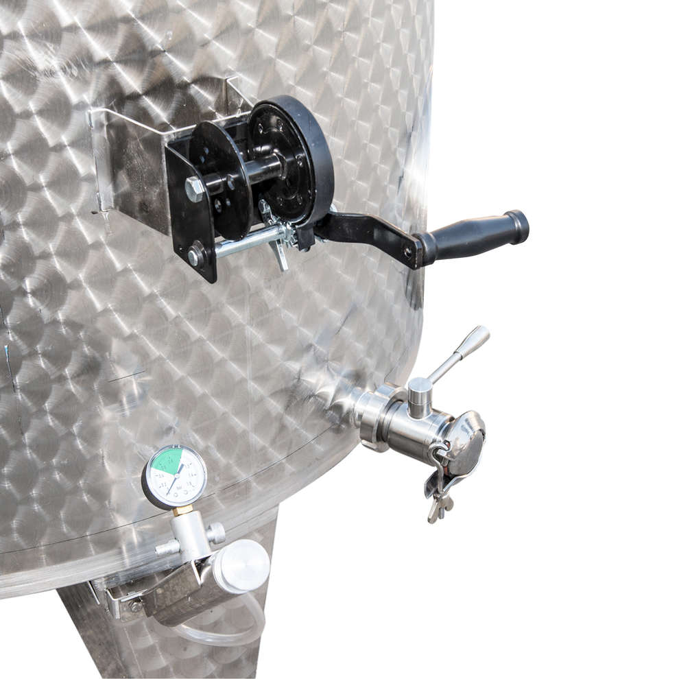 Depósito inox de fundo cónico 1500 L con flotador a aire con puerta