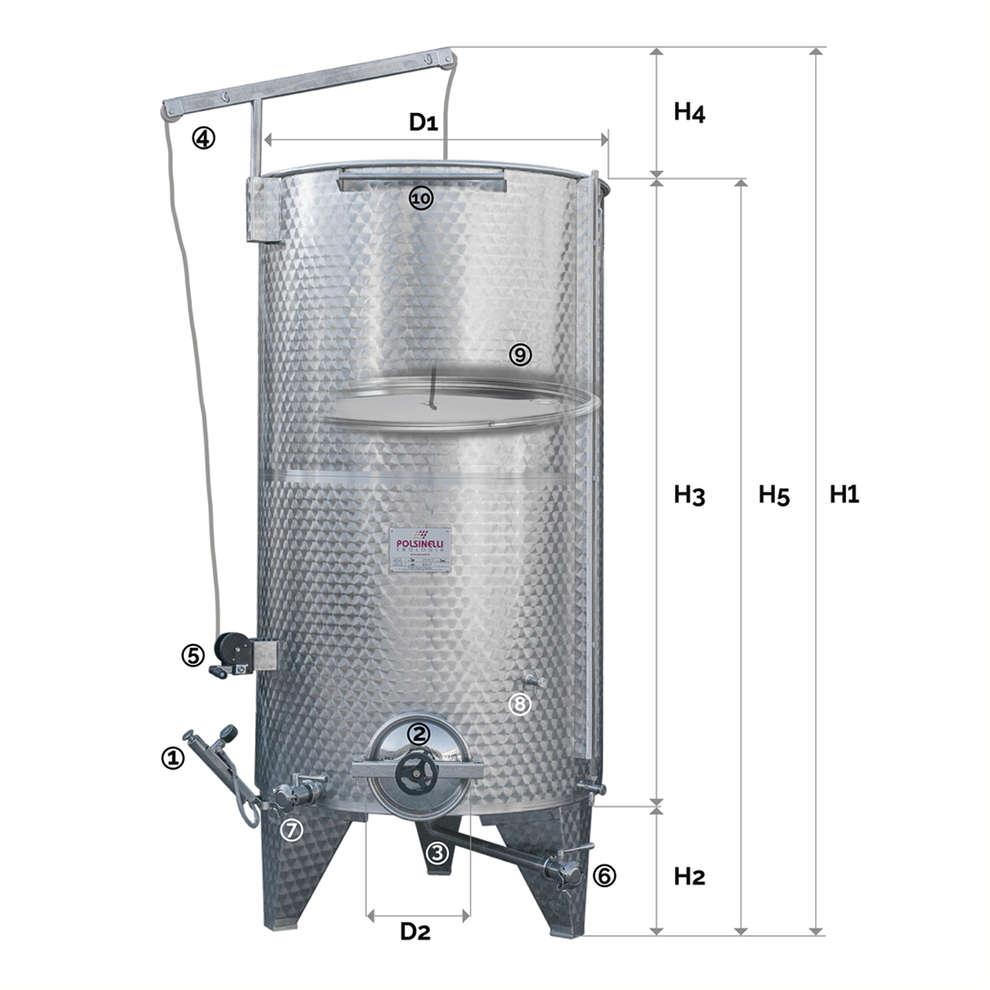 Depósito inox de fundo cónico 2000 L con flotador a aire con puerta