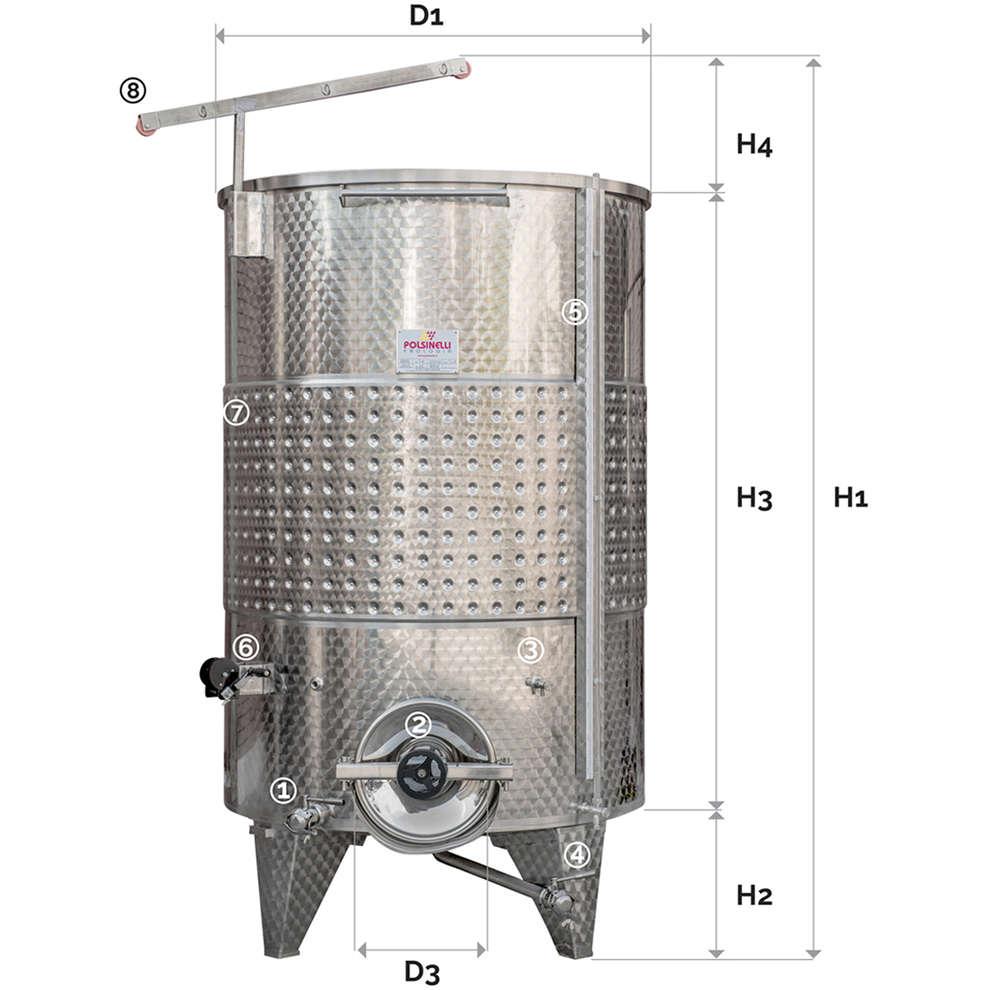 Depósito inox de fundo cónico con flotador a aire con puerta, Refrigerado 3000 Lt.
