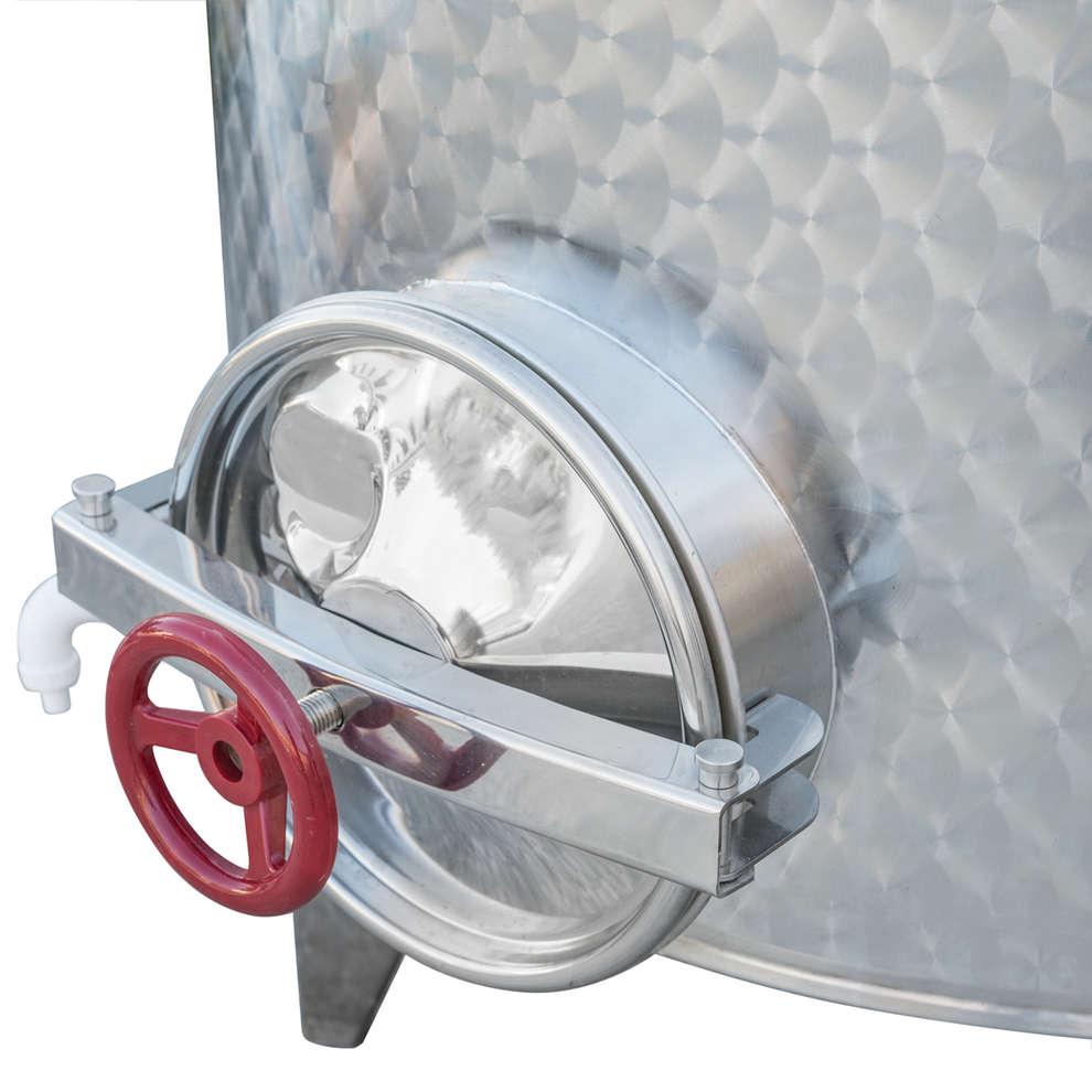 Depósito inox fundo cónico 1000 L con flotador a aire y puerta