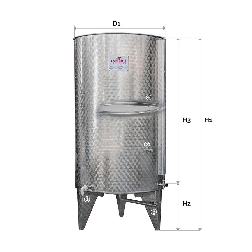 Depósito inox fundo cónico 1000 L con flotador a aire