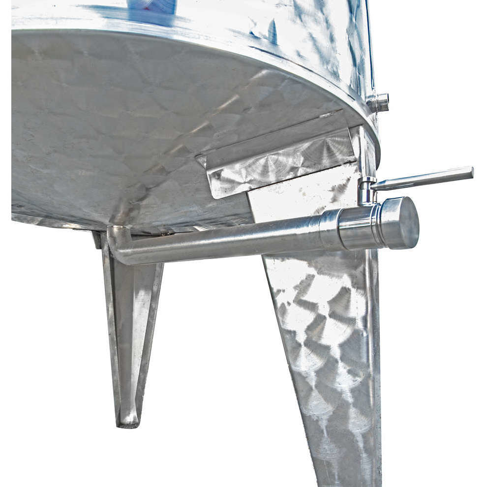 Depósito inox fundo cónico 500 L con flotador a aire y puerta ∅ 300