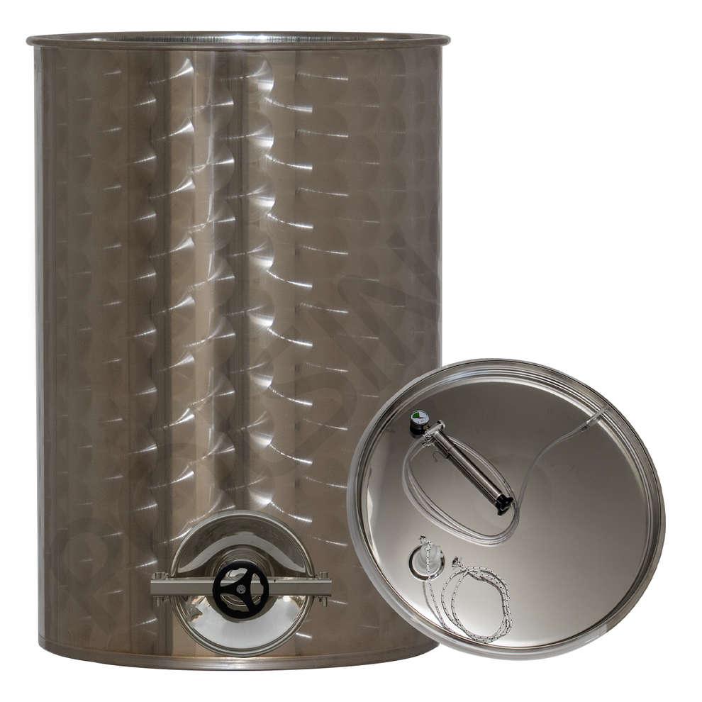 Depósito inox para vino de 1000 L con flotador a aire y puerta