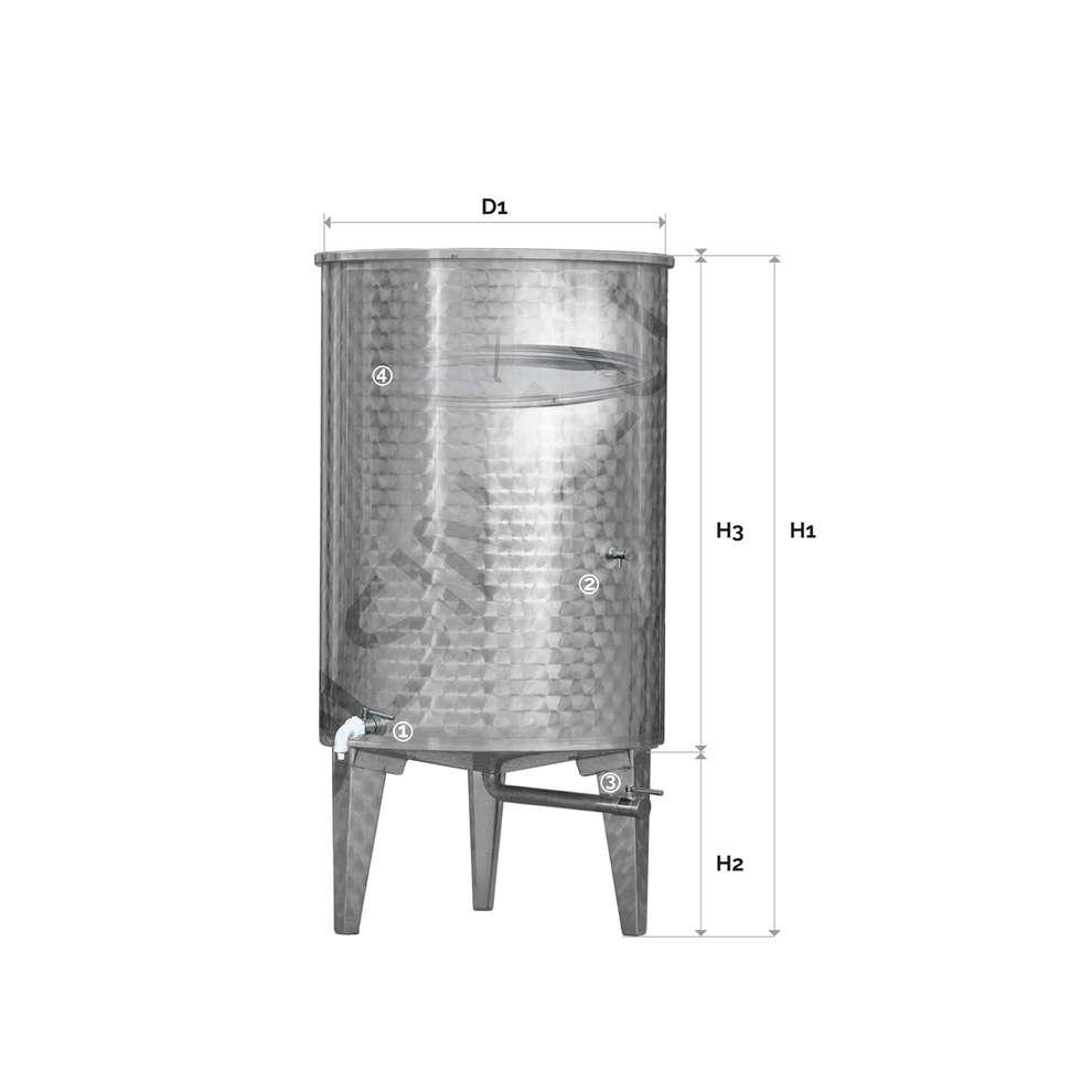 Depósito inox siempre lleno 400 L flotador a aire