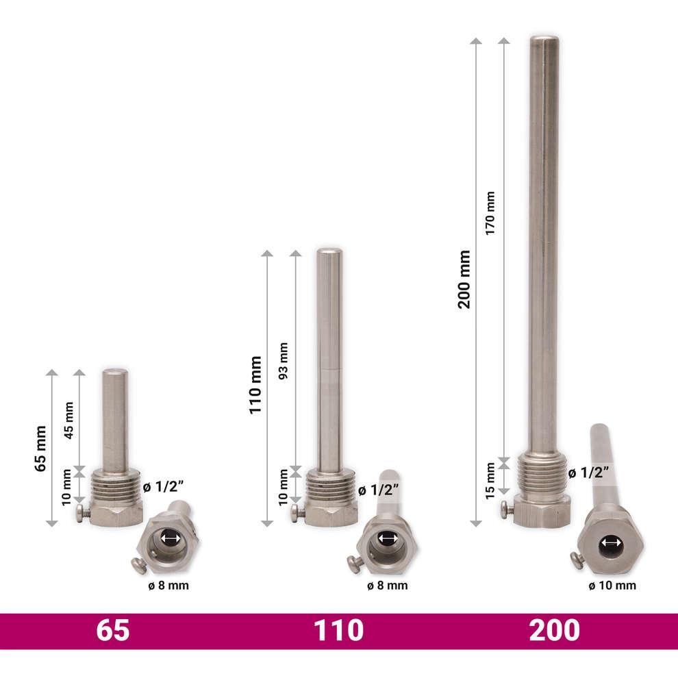 Doigt de gant  en acier AISI 304 pour sonde thermométrique 110