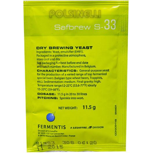 Dry yeast Fermentis Safbrew S-33 (11.5 g)