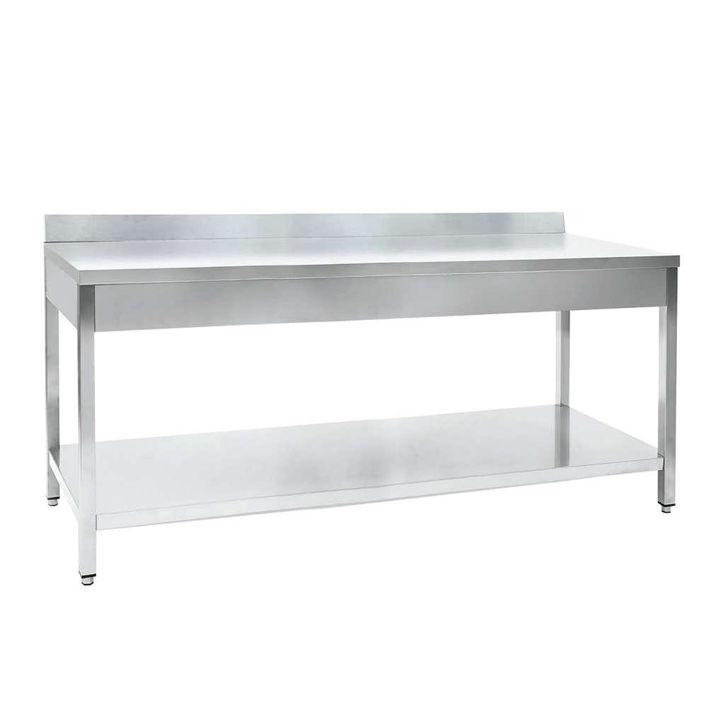 Edelstahl Tisch mit Regal 2000 x 700 mm