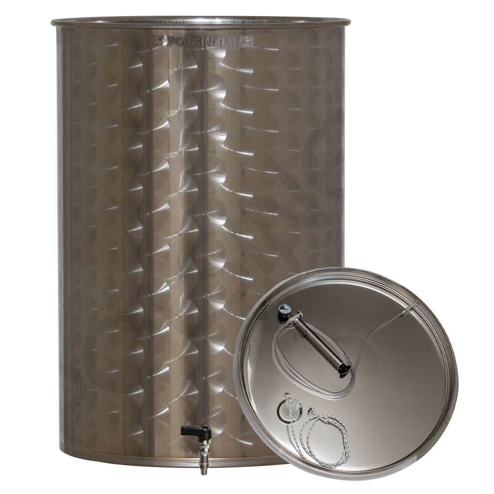 Edelstahlbehälter für Wein von 100 Lt. mit Luft-Schwimmdeckel