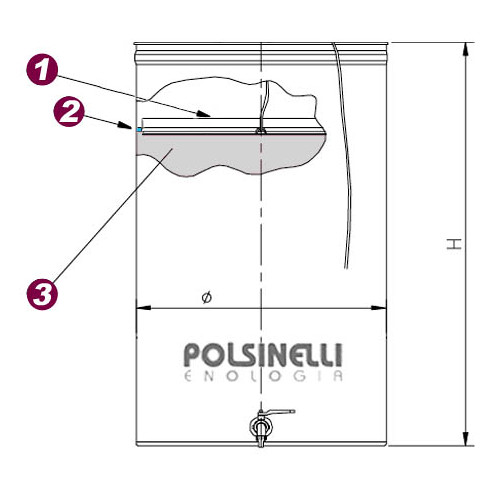 Edelstahlbehälter für Wein von 150  Lt. mit Öl-Schwimmdeckel