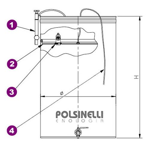 Edelstahlbehälter für Wein von 200  Lt. mit Luft-Schwimmdeckel