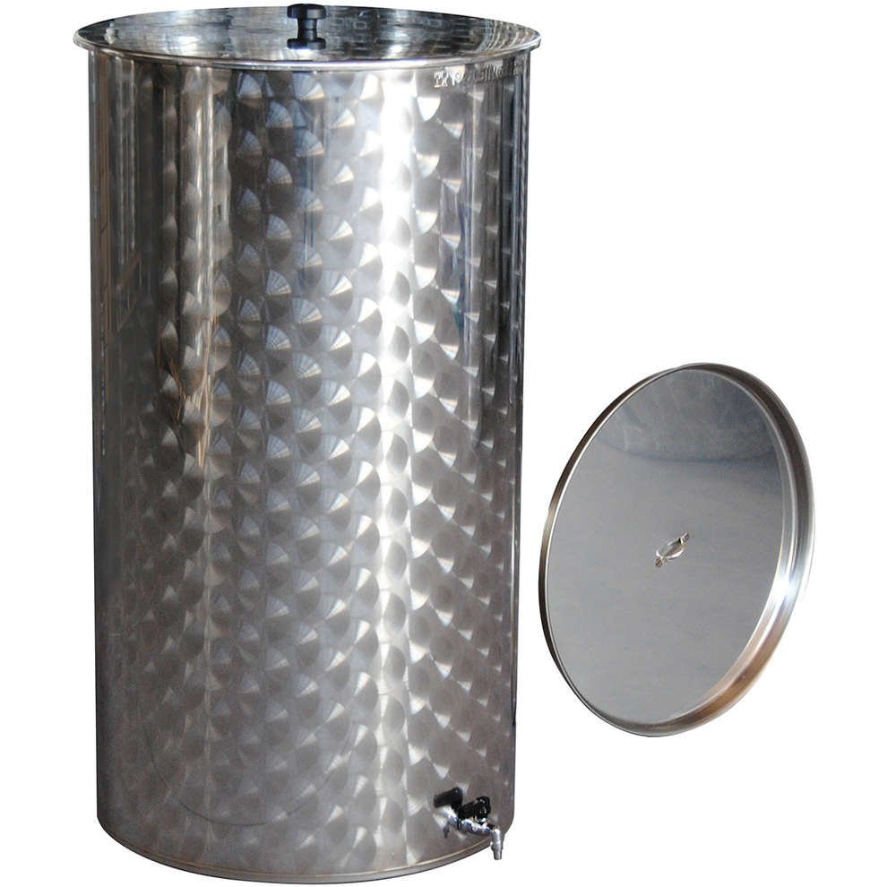 Edelstahlbehälter für Wein von 50 Lt. mit Öl-Schwimmdeckel