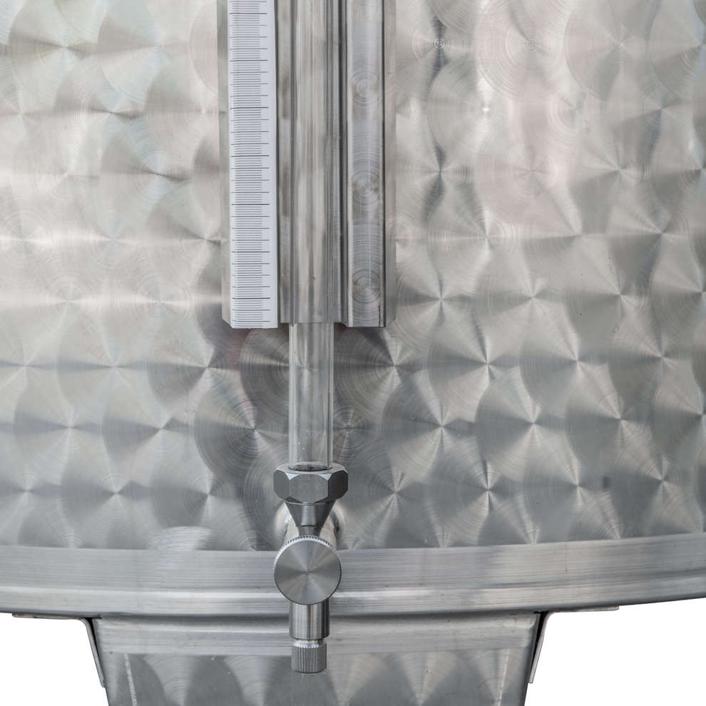 Edelstahlbehälter konischen Boden 1000 Lt. mit Luft-Schwimmdeckel mit Türchen
