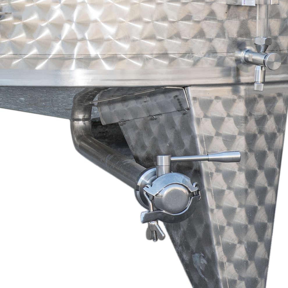 Edelstahlbehälter konischen Boden 1500 Lt. mit Luft-Schwimmdeckel mit Türchen